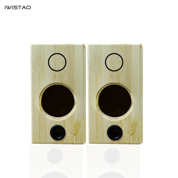 IWISTAO 6.5 Inch Empty Speaker Enclosure 2 Way Solid Pine Wood Retro Classic Front Inverted Subwoofer HIFI Bookshelf DIY
