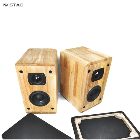 IWISTAO 2 Way HIFI Speaker  3.5 Inch Woofer  1 Inch Tweeter 4 Ohm 50W Solid Wood Enclosure 1 Pair Inverted Structure