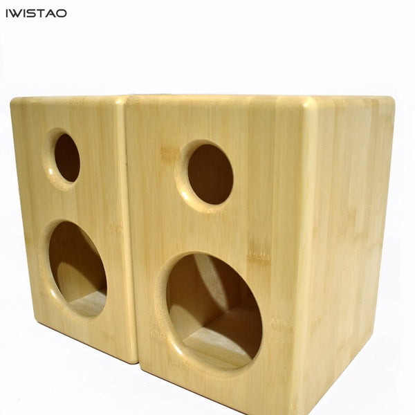 IWISTAO 2 Ways 4.5 Inches Bamboo Empty Enclosure 7.2L Install Speaker Units Inside Retro Style HIFI Audio