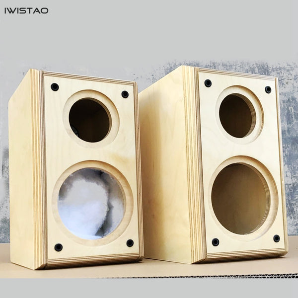IWISTAO 2-way 4 inch Empty Speaker Cabinet 1 Pai Birch Wood Enclosure Net Volume 7L HIFI Audio DIY