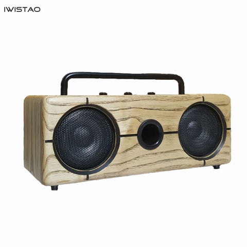 IWISTAO 2x15W Bluetooth Speaker Inverted Handmade Vintage Solid Ashwood  AUX U Disk MP3 WAV FLAC