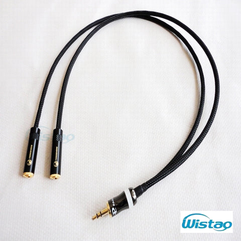 IWISTAO 3.5mm to 2 Female 3.5 Stereo HIFI Cable Canare Professional Broadcast 0.5-3m