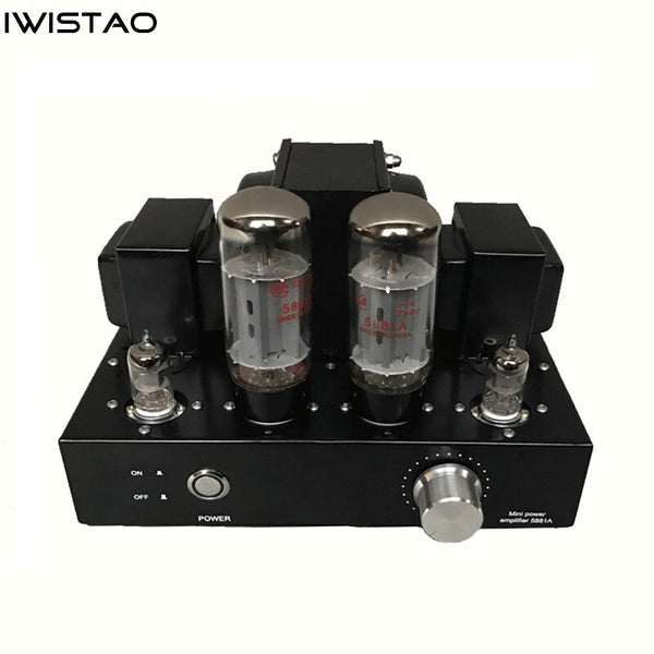 IWISTAO 5881A Tube Amplifier Single-ended Class A Mini Amp Manual Scaffolding EL34 Vacuum Tube Upgrade Version Black Casing