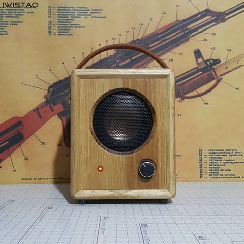 IWISTAO Bluetooth Speaker 4.2 15W Portable Handmade Vintage Pure Solid Wood  3 Inch Full Range Unit CSR64215