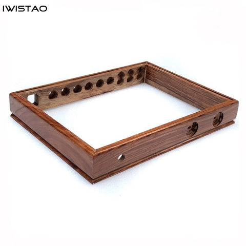 IWISTAO DIY Wooden Casing for Tube Amplifier Chassis 430X330X63 Red Sandalwood Top Down Plate 3 Inputs Selector Hole