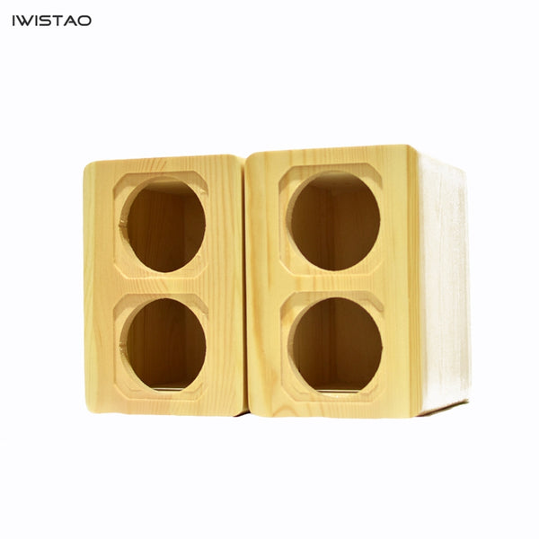 IWISTAO Dual Full Range Unit Empty Speaker Cabinet 1 Pair Pine Solid Wood for Peerless 2.5 Inch DIY