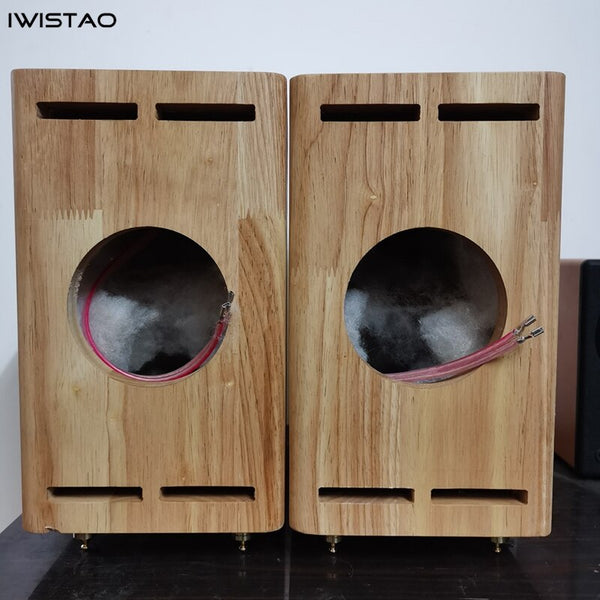 IWISTAO Empty Cabinet Solid Wood Classic FOSTEX SOLO103 1 Pair Customized 3/4 Inch Full Range Speaker Unit Hole Tube Amplifier
