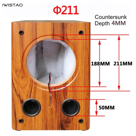 IWISTAO Full Range 8 inches Speaker Empty Cabinet Passive Speaker Enclosure Wood 18mm High Density MDF Board Volume 24L DIY