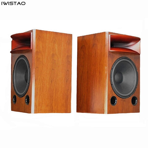 IWISTAO HIFI 15 Inch 2-way Speaker 1 Piece Birch Wood Cabinet 8 ohm 40HZ-20KHZ 200W Solid Wood Horn Inverted Phase for Tube Amp