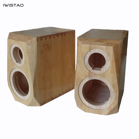 IWISTAO HIFI 2 Way Bookshelf Solid Wood Empty Speaker Cabinet 6.5/8 Inch 1 Pair Diamond Cut Corner 18 / 26L for Tube Amplifier