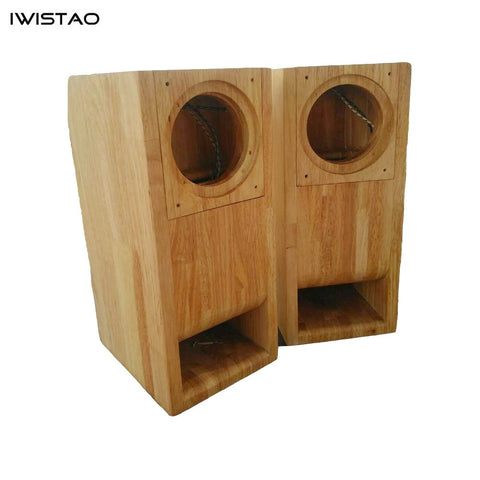 IWISTAO HIFI 4 Inches Full Range Speaker Empty Cabinet 1 Pair Finished Wood Labyrinth Structure for Tube Amplifier