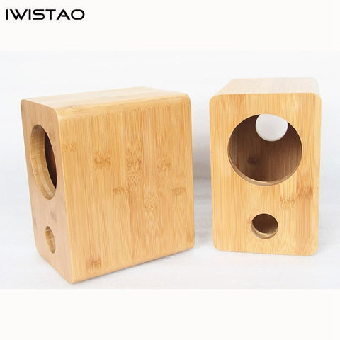 IWISTAO HIFI 4 Inches Full Range Speaker Empty Enclosure Bamboo Wood Inverted 1 Pair Finished  for Tube Amplifier