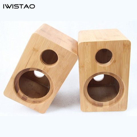 IWISTAO HIFI 5 Inches 2 Ways Speaker Empty Cabinet Inverted 1 Pair Bamboo Wood for Surround Speaker