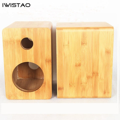 IWISTAO HIFI 5 Inches 2 Way Speaker Empty Enclosure Inverted 1 Pair Bamboo for Tube Amplifier