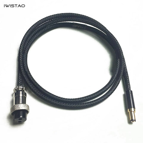 IWISTAO HIFI DC linear Power Cord Aerospace Connector GX12 to DC Plug Output 5.5*2.5mm  1.5M DIY