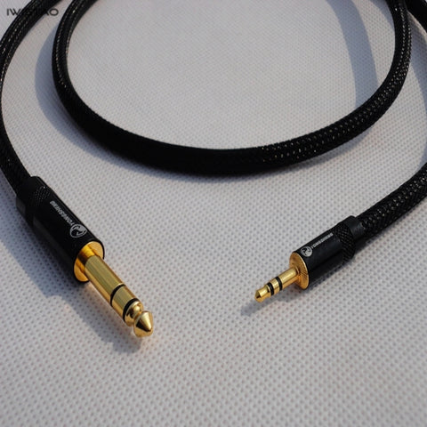 IWISTAO HIFI Extend Cable 3.5mm Female to 6.5mm Stereo Cable 4N OFC Wires Gold-plated Terminals