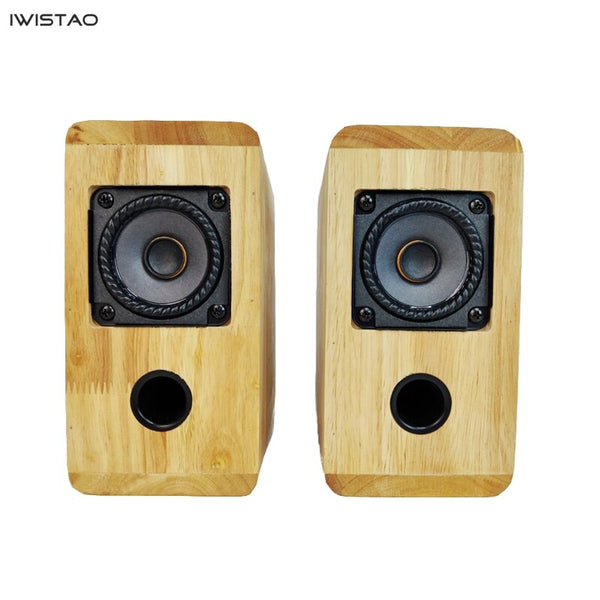 IWISTAO HIFI Speaker Full Range 2.75 Inches Unit 4 Ohm 15~30W 88dB Solid Wood Enclosure 1 Pair Inverted Structure