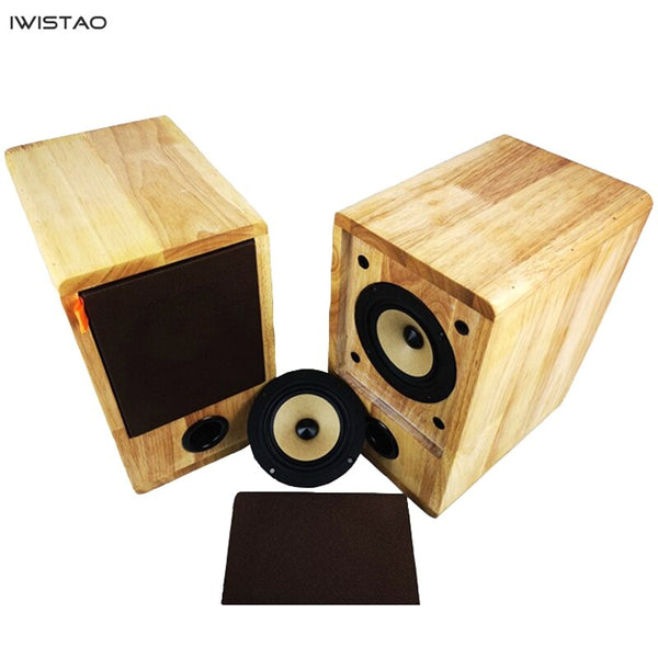 IWISTAO HIFI Speaker Full Range 4 Inches Unit 4 Ohm 15~25W Solid Wood Enclosure 1 Pair Inverted Structure