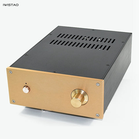 IWISTAO HIFI Tube Amplifier Casing W222*D308*H91mm Whole Aluminum Pure Power Stage Black Gold Panel