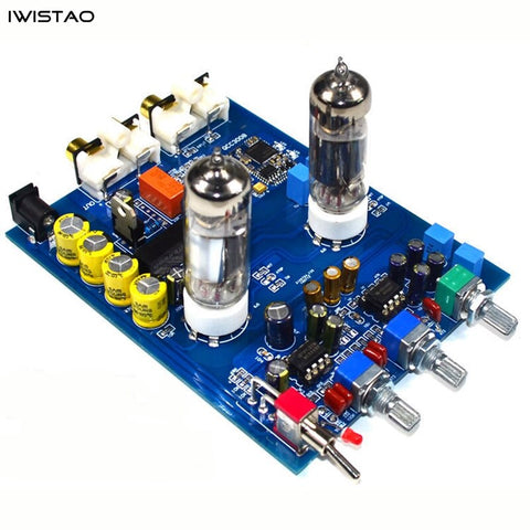 IWISTAO HIFI Tube Preamp Tone Finished Board Tube 6J5 Bluetooth 5.0 QCC3008 APT-X PCM5102 Decoder