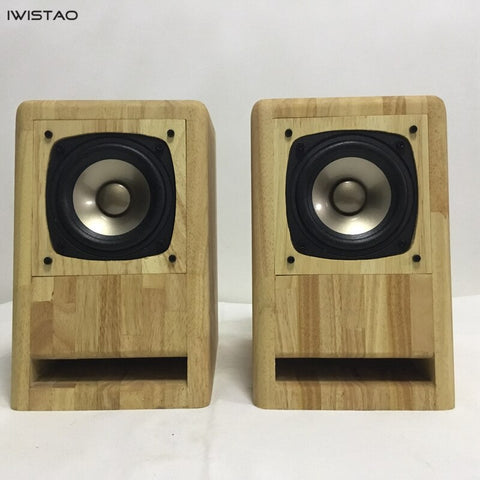 IWISTAO HIFI 4 Inch Full Range Labyrinth Speaker 2x60W 4Ohms 92dB Max AKISUI4 Oak for Tube Amp