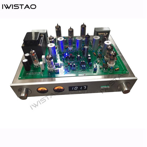 IWISTAO Tube FM Stereo Radio Tuner Built-in Tube Amplifier 6P1 2X3.5W High Sensitivity HIFI Audio 110/220V