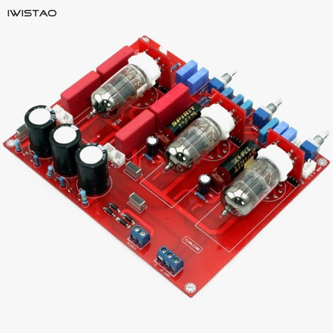 IWISTAO Tube Tone Adjustment Preamplifier Finished Board 6N1 Bass Treble Volume Control Horizontal