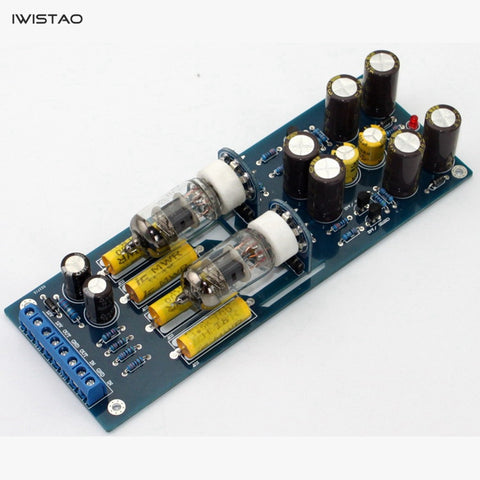 IWISTAO Vacuum Tube Preamplifier 2x6J1 Finished PCBA Horizontal Installation AC12V DIY