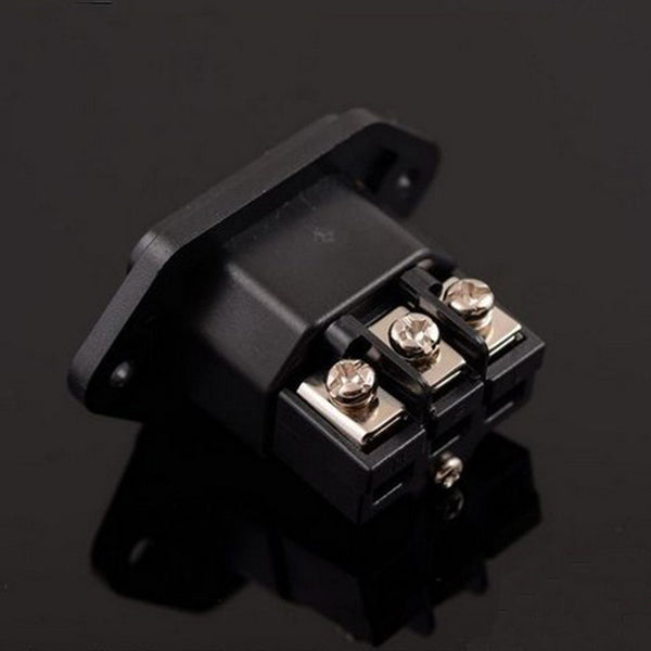 Audio Level HIFI Power Socket Tailstock Rhodium-plated Tellurium Copper 15A250V Pitch 43mm High 27mm No Soldering