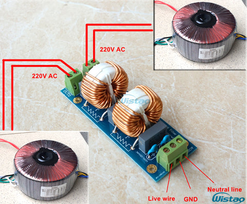 IWISTAO Power Filter Board EMI Filters 18A Dual Coarse Copper Common-mode Inductive 220V