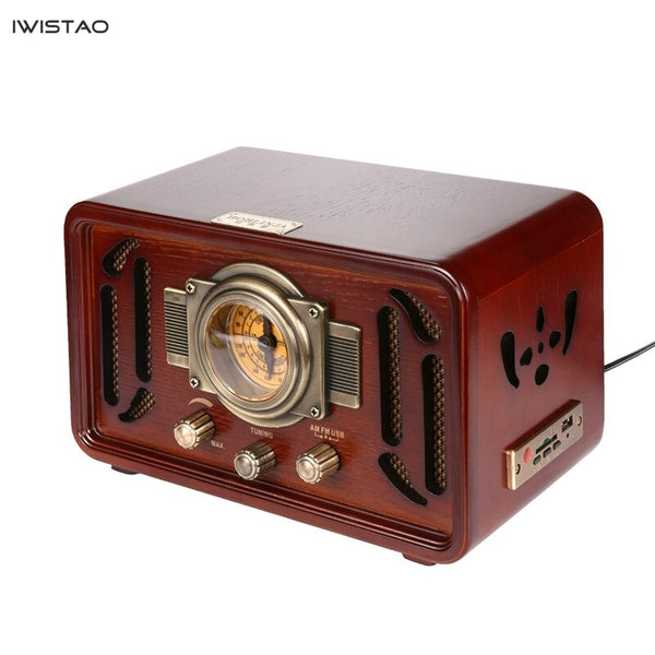 Retro Wooden HIFI Radio AM/FM 2x5W Desktop Speakers Rotary Tuning Bluetooth U Disk Playing