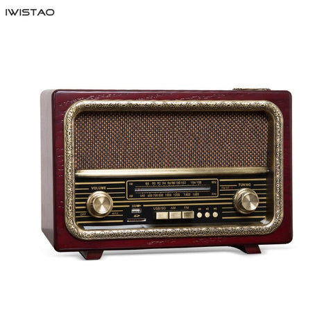Retro Wooden HIFI Radio AM/FM 2x5W Desktop Speakers Support Bluetooth U Disk SD Card Playing High Sensitivity