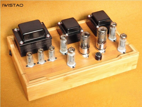 IWISTAO Tube Amplifier Class A Single-ended 2X7W 6J8P Drive 2x6P1 Parallel All Retro-style Bamboo-wood Casing Scaffolding Soldering HIFI