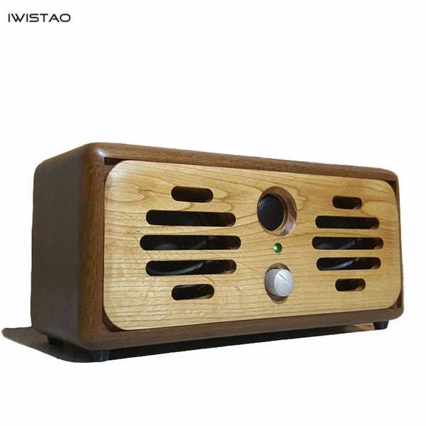 IWISTAO Bluetooth Speaker Handmade Vintage Pure Solid Wood  2x15W AUX U Disk MP3 WAV FLAC