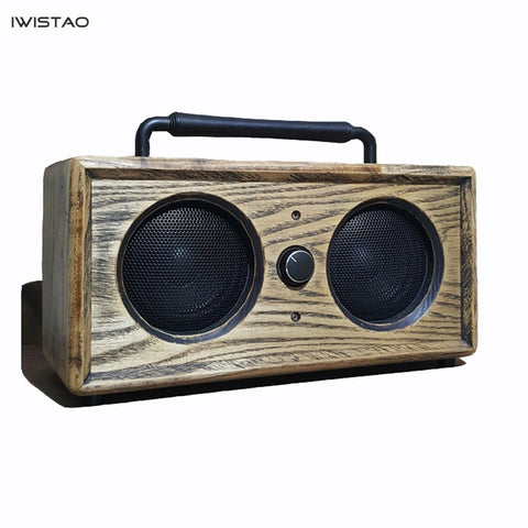 IWISTAO 2x15W Bluetooth Speaker Handmade Vintage Solid Ashwood AUX U Disk MP3 WAV FLAC