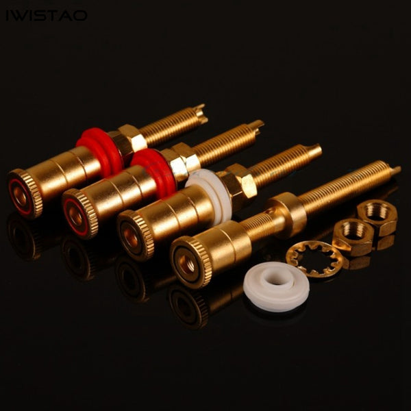 Lengthened Terminal Speaker Terminals Amp Copper Sand Gold Plated Screw length 40mm Red and Black