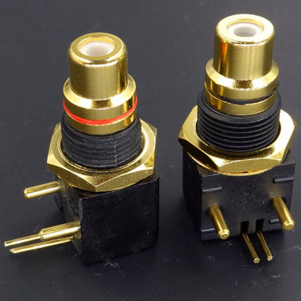 Extra-thick RCA Jack  24K Brass Gold-plated Inserted PCB Thickness 4mm Superior Performance 1 Pair HIFI Audio