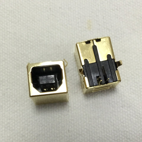 USB B Type Female 90 Degree DIP Connector Gold-plated 3u Thickness for HIFI Decoder Accessories