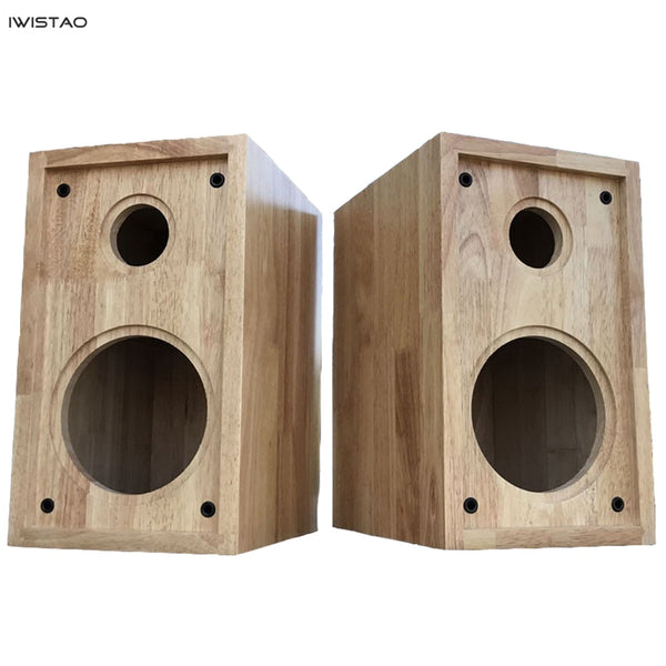 IWISTAO HIFI 5 Inches 2 Way Speaker Empty Enclosure 1 Pair Finished Oak Wood Inverted Tube Amp