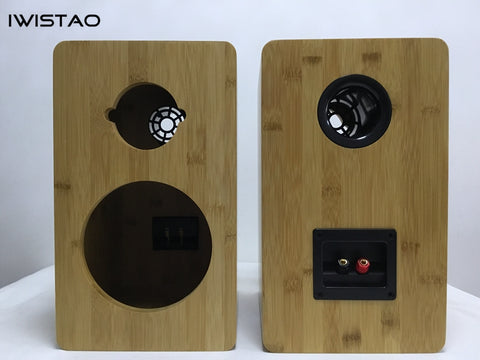 IWISTAO HIFI 6.5 Inches 2 Ways Speaker Empty Cabinet Enclosure Inverted 1 Pair Finished Bamboo Wood for Tube Amplifier