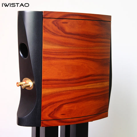 IWISTAO HIFI 2 Way 6.5 Inch Bookshelf Empty Speaker Cabinet 1 Pair Curved Shape Inverted Rosewood Wood Veneer 18.5L