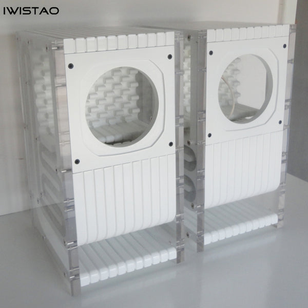 IWISTAO HIFI 6.5 Inches Full Range Speaker Empty Labyrinth Oak Cabinet 1 Pair Acrylic Board Side Panels
