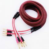 IWISTAO HIFI Interconnection Speaker Cable 4 Square Budweiser Gold-plated Copper Banana Terminals