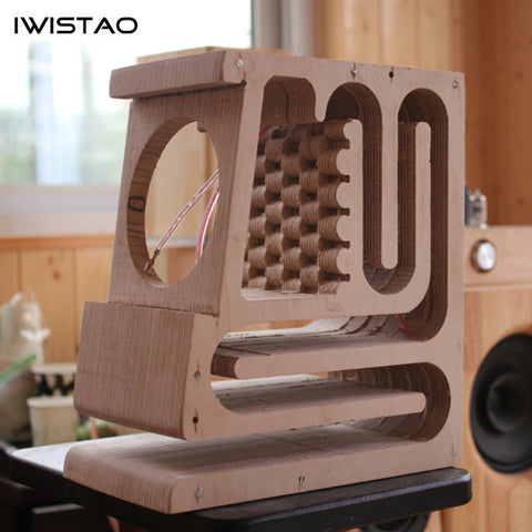 IWISTAO HIFI Empty Speaker Cabinet Finished Labyrinth Structure Oak Wood for Full Range