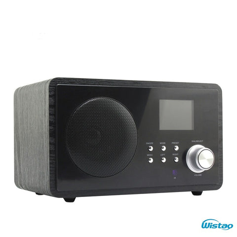 WIFI Radio Internet Web FM Radios 5W RMS Color Screen Power Adaptor Supply Clock and Alarm Wooden Casing