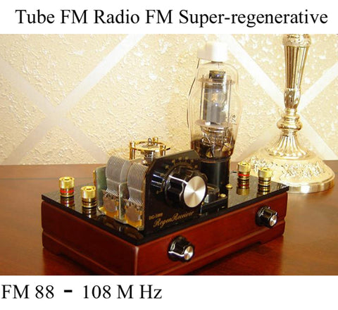 IWISTAO Tube FM Radio FM Super-regenerative Handmade Nostalgia Radio Tubes Amplifier Preamplifier 6J1 FU-25 AC12 Power Supply