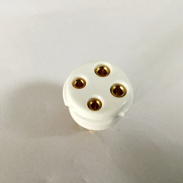 4-pin Vacuum Tube Socket  Gold Plated Copper Pins Ceramic Base 2A3 5Z3 6A3 300A 300B