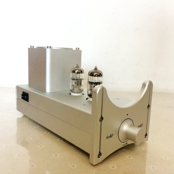 IWISTAO Tube Preamplifier HIFI 6N2 Gain 5 Times Whole Aluminum Metal Chassis& Volume Knob Silver