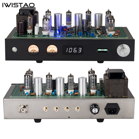 IWISTAO Finished Tube FM Stereo Tuner Stainless Steel Chassis Black Aluminum Panel HIFI Audio 110V