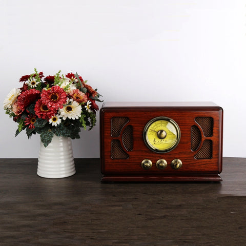 Retro Wooden HIFI Radio AM/FM 2x4W Desktop Speakers Bluetooth U Disk SD/MMC Card Playing